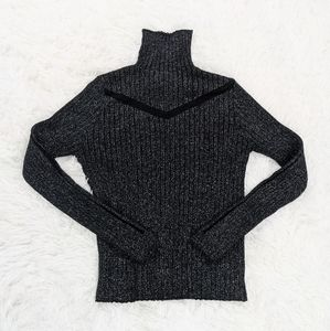 Ribbed Sparkle Sweater with Mesh Chest and Sleeves